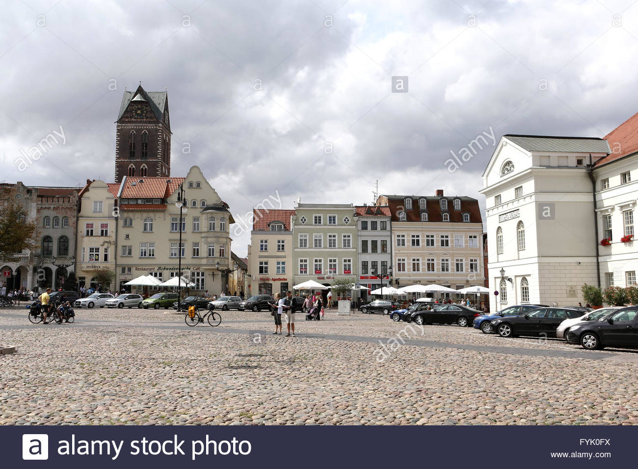 The historic market place in Wismar - Stock Image