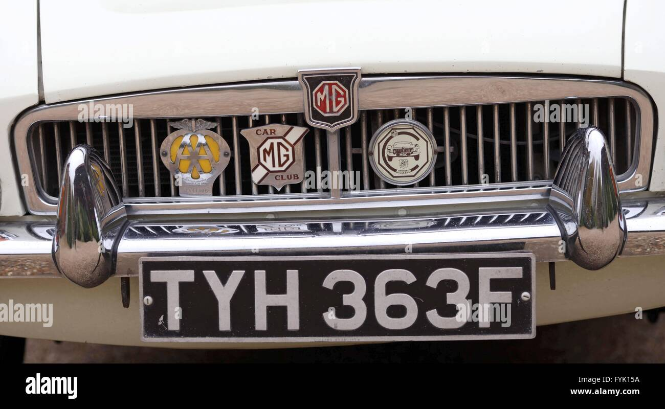 Front grill, number plate and badges on a vintage MG Sports Car ...