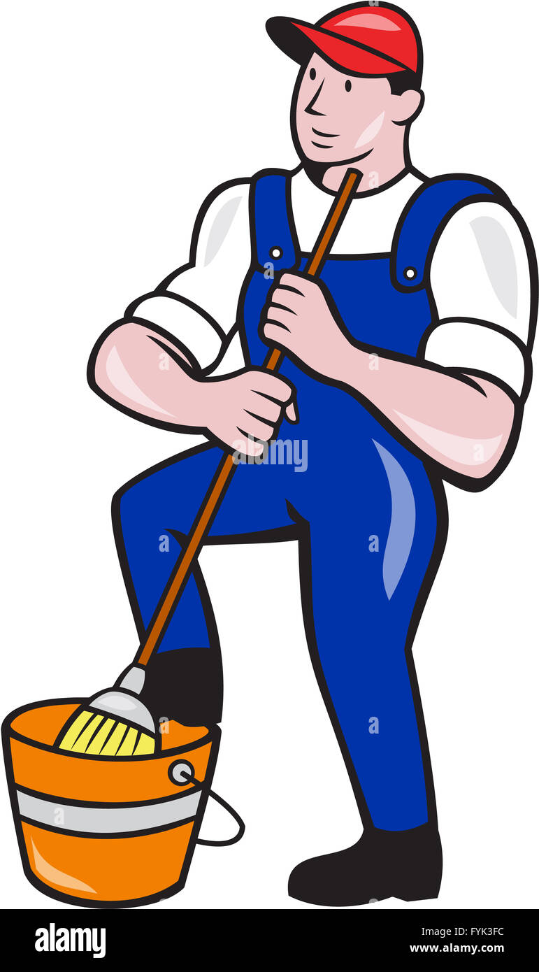 janitor cleaner holding mop bucket cartoon stock photo janitorial clipart free janitorial clip art images