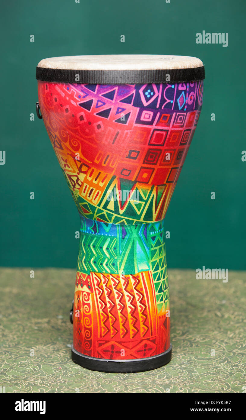 Tribal Drum Isolated on a green background - Stock Image
