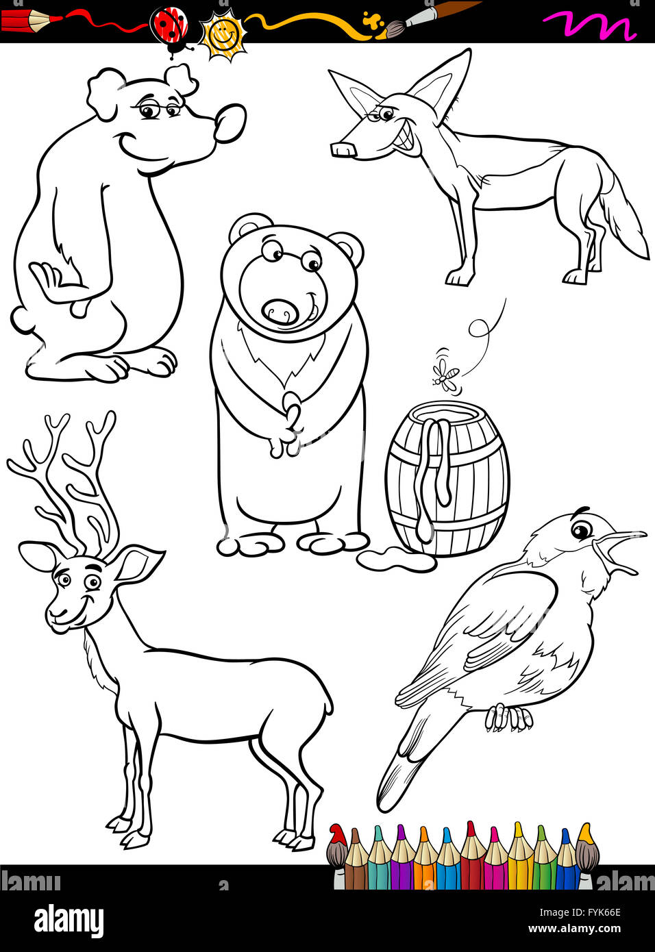 Animals Set Cartoon Coloring Page   Stock Image