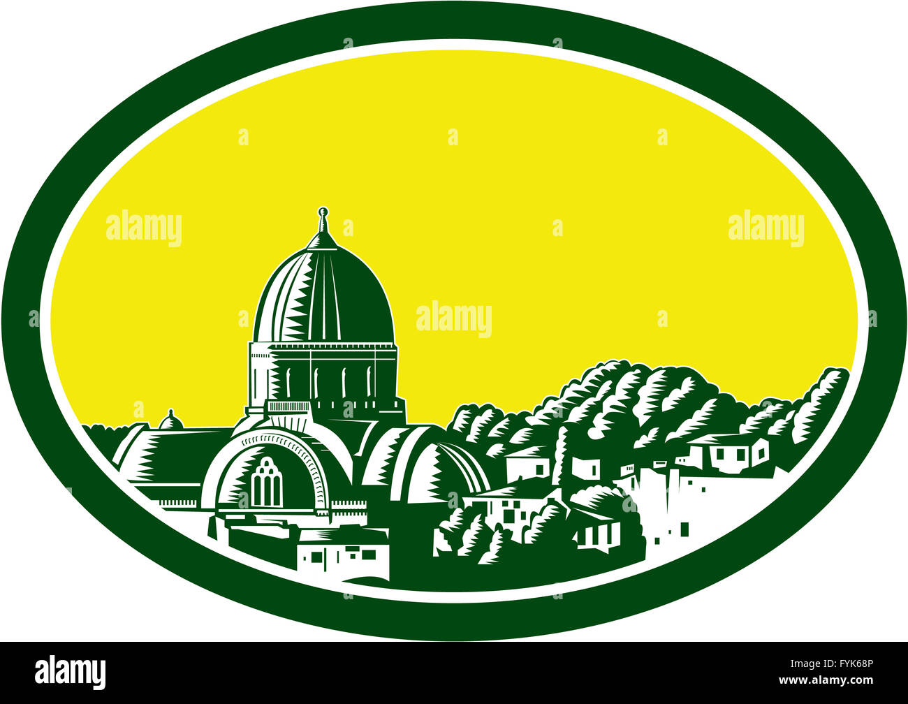 Great Synagogue of Florence Woodcut Stock Photo