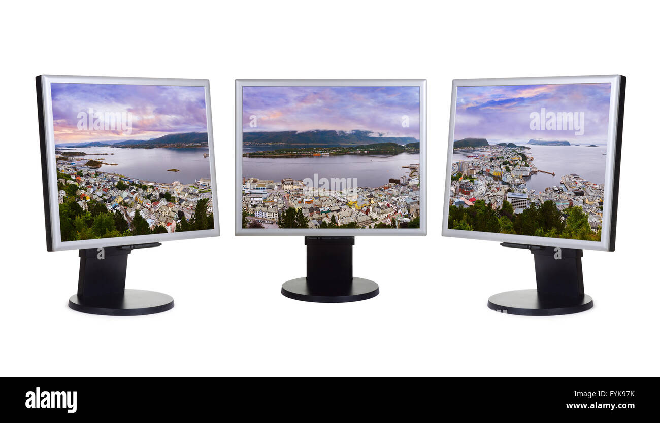 Panorama of Alesund Norway in computer monitors - Stock Image
