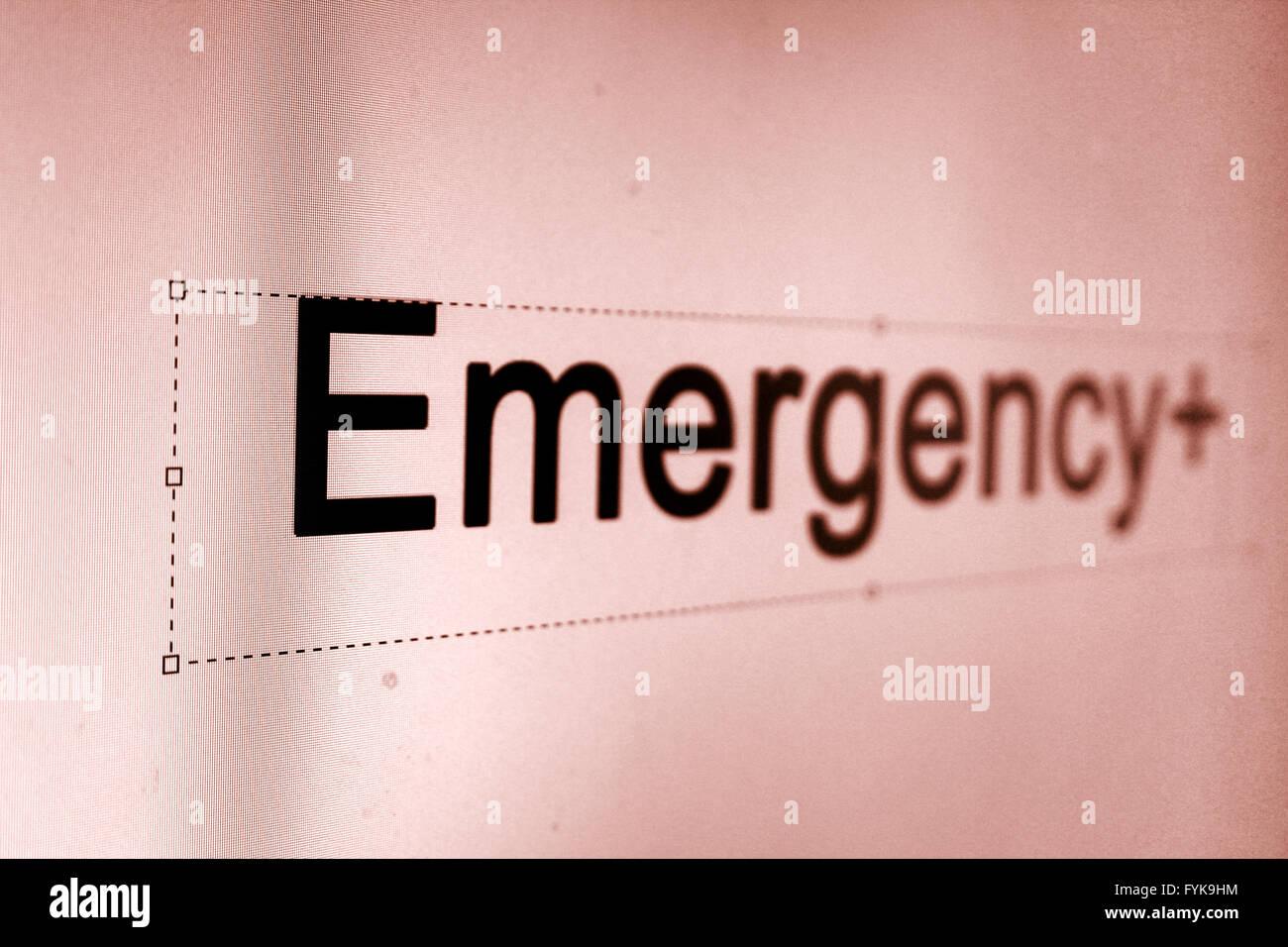 Emergency Word - Stock Image