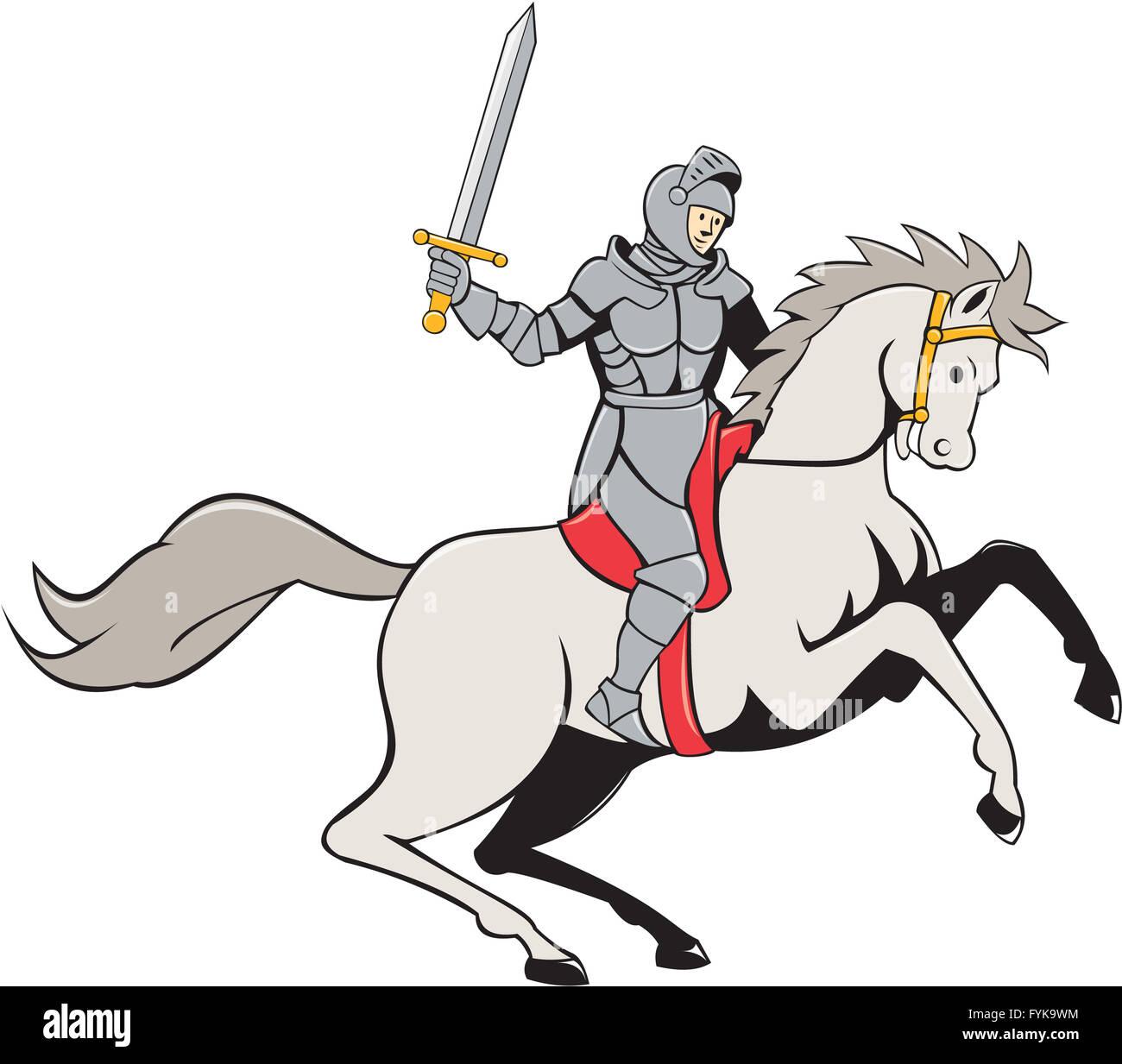 Knight Riding Horse Sword Cartoon - Stock Image