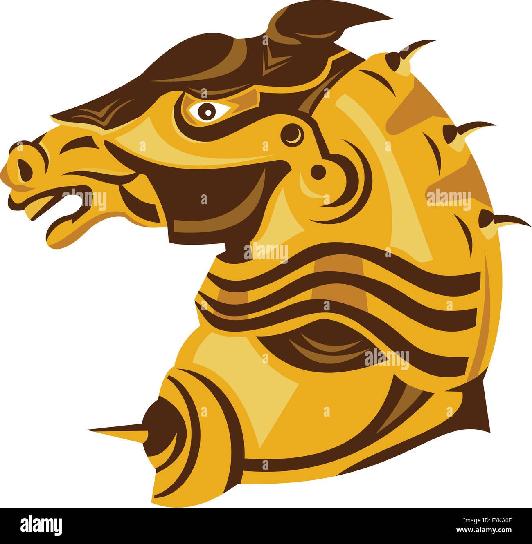 Knight War Horse Side Armor Retro - Stock Image