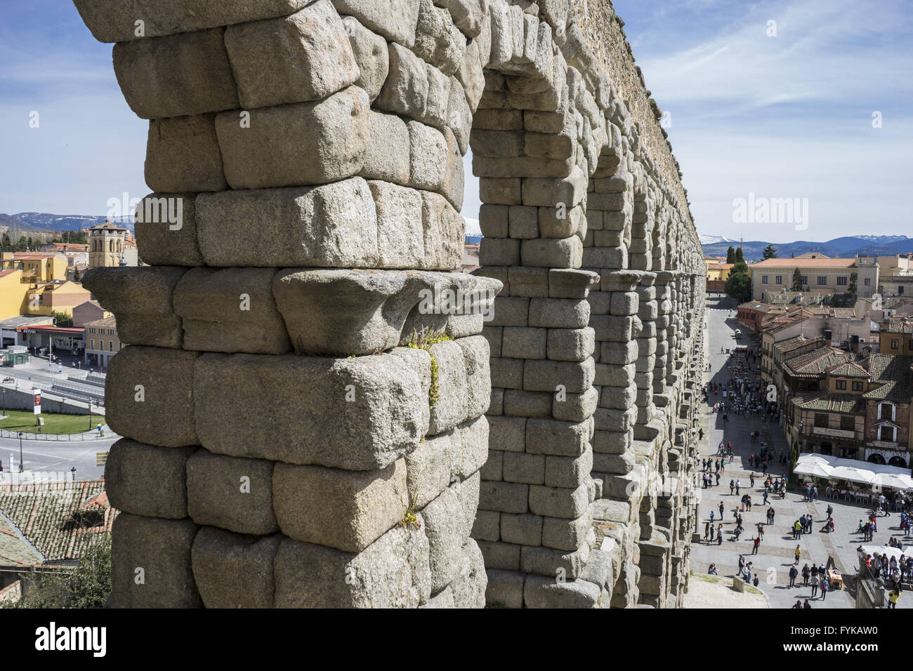 Tourism, Roman aqueduct of segovia. architectural monument declared patrimony of humanity and international interest - Stock Image