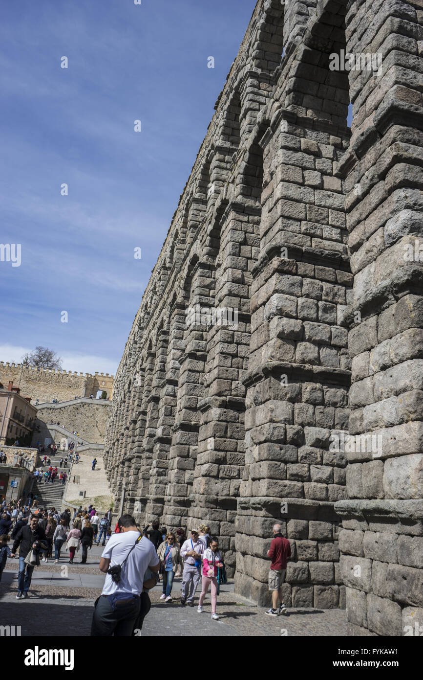 Roman aqueduct of segovia. architectural monument declared patrimony of humanity and international interest by UNESCO Stock Photo