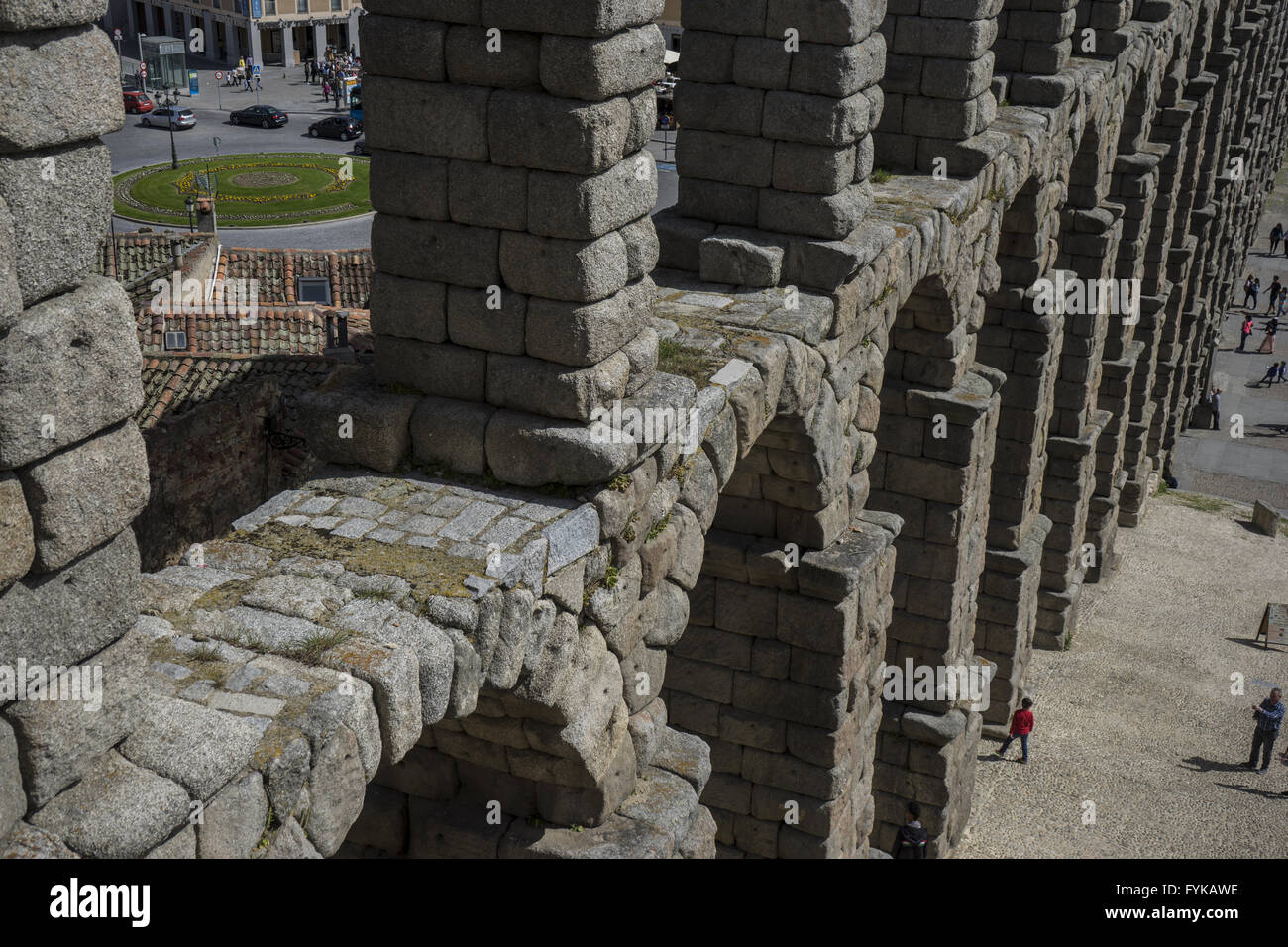 Roman aqueduct of segovia. architectural monument declared patrimony of humanity and international interest by UNESCO - Stock Image