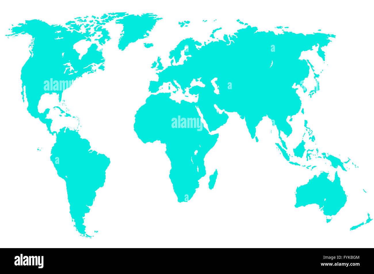light green world map, isolated - Stock Image