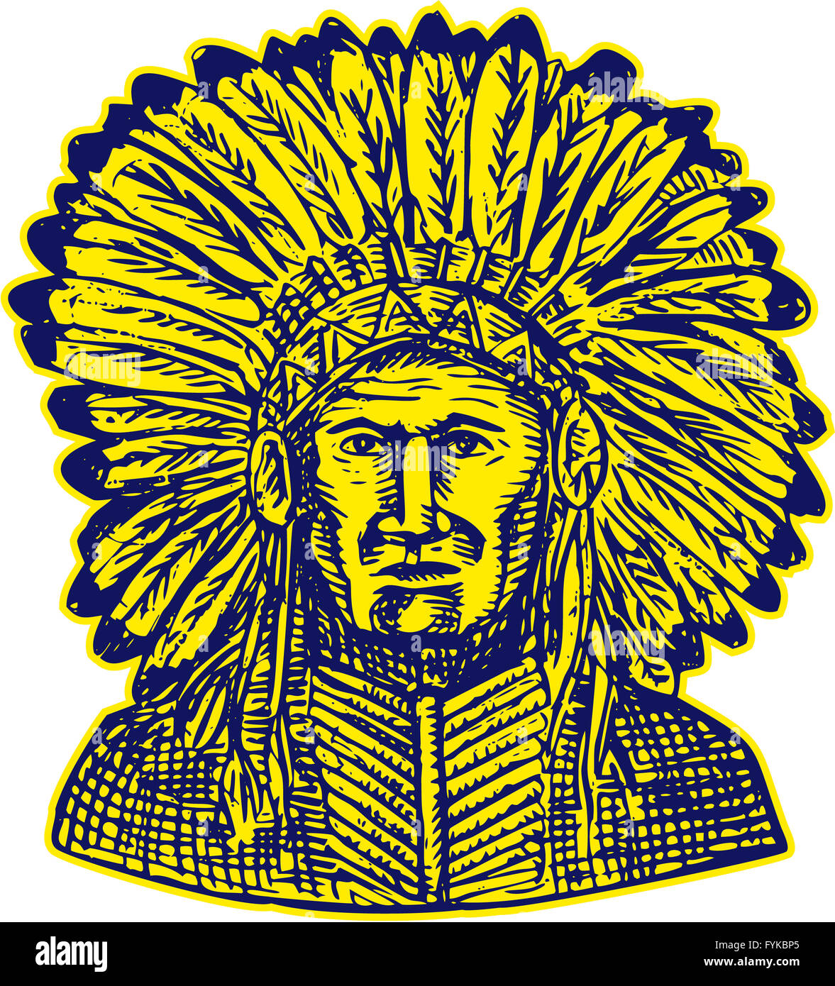 Native American Indian Chief Warrior Etching - Stock Image
