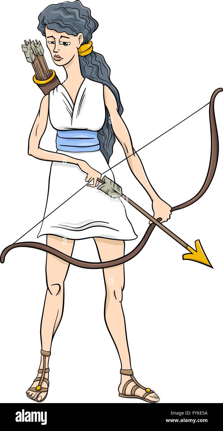 greek goddess artemis cartoon - Stock Image