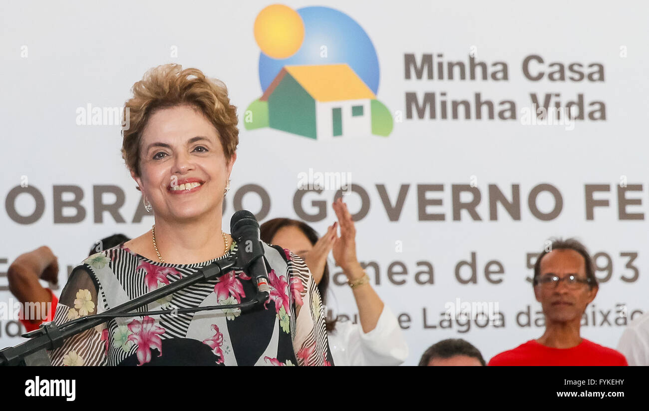 Salvador, Brazil. 26th April, 2016. Photo provided by Brazil's Presidency shows Brazilian President Dilma Rousseff - Stock Image