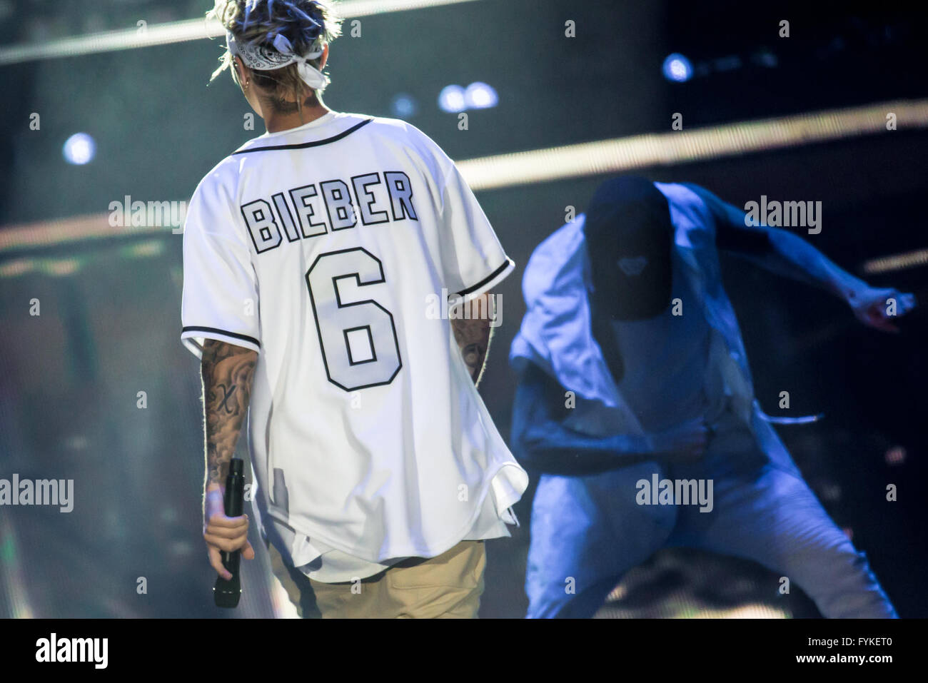Auburn Hills, Michigan, USA. 25th Apr, 2016. JUSTIN BIEBER performing on his Purpose World Tour at the Palace of - Stock Image