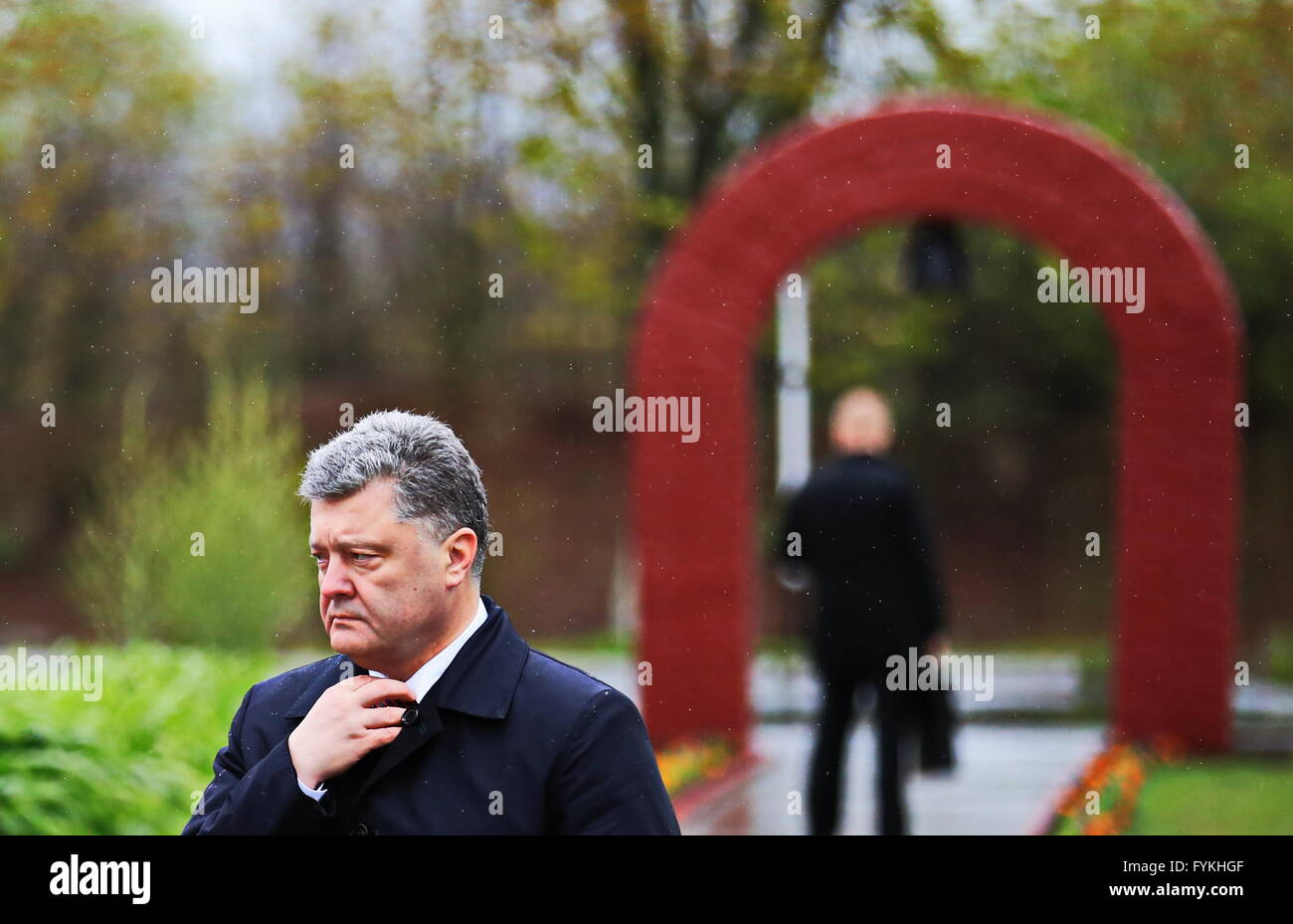 Chernobyl, Ukraine. 26th Apr, 2016. Ukrainian President Petro Poroshenko attends a commemorative event marking the - Stock Image