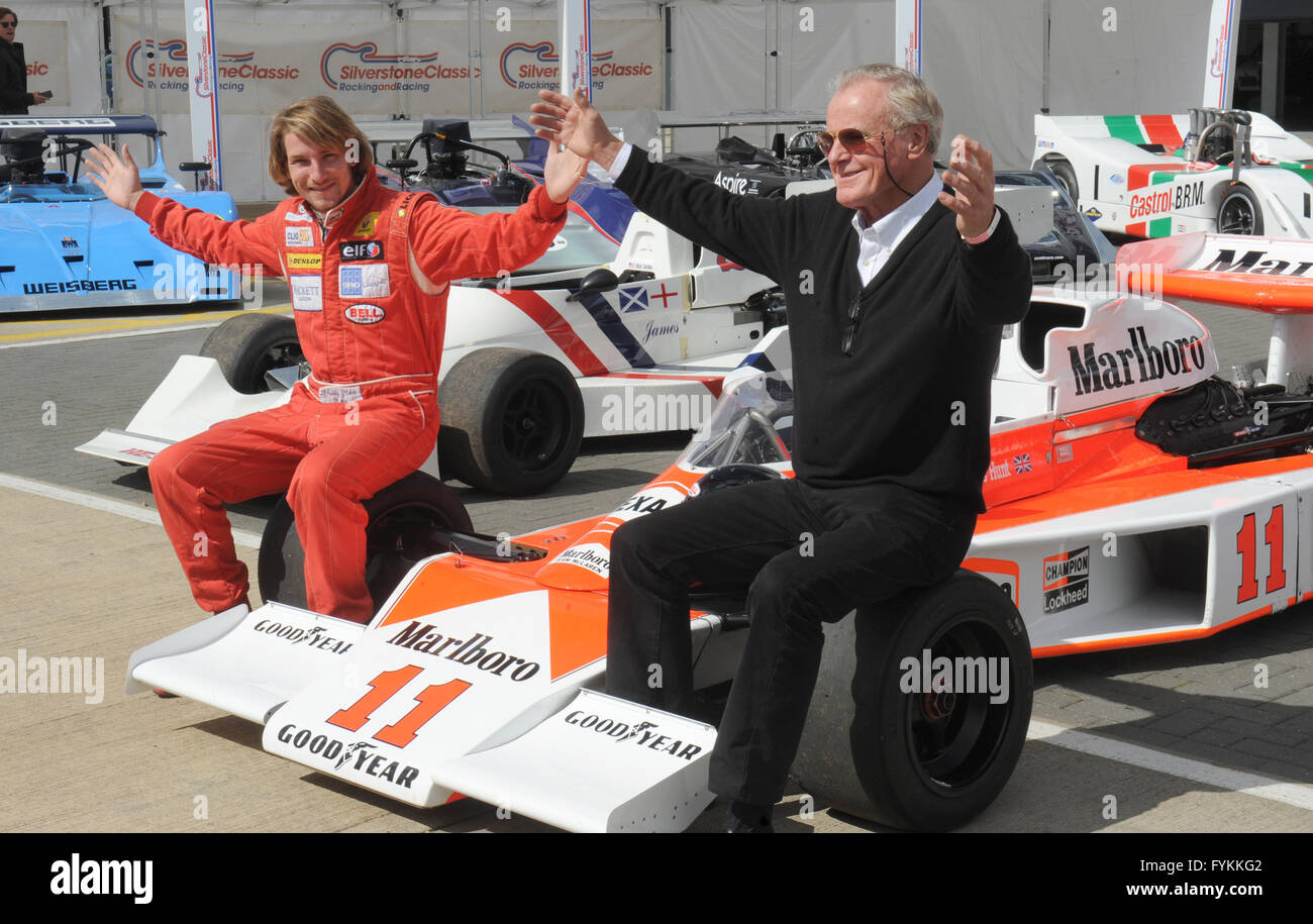 Freddie Hunt, son of F1 champion James Hunt with Alastair Caldwell  James's manager at MacLaren with some of - Stock Image