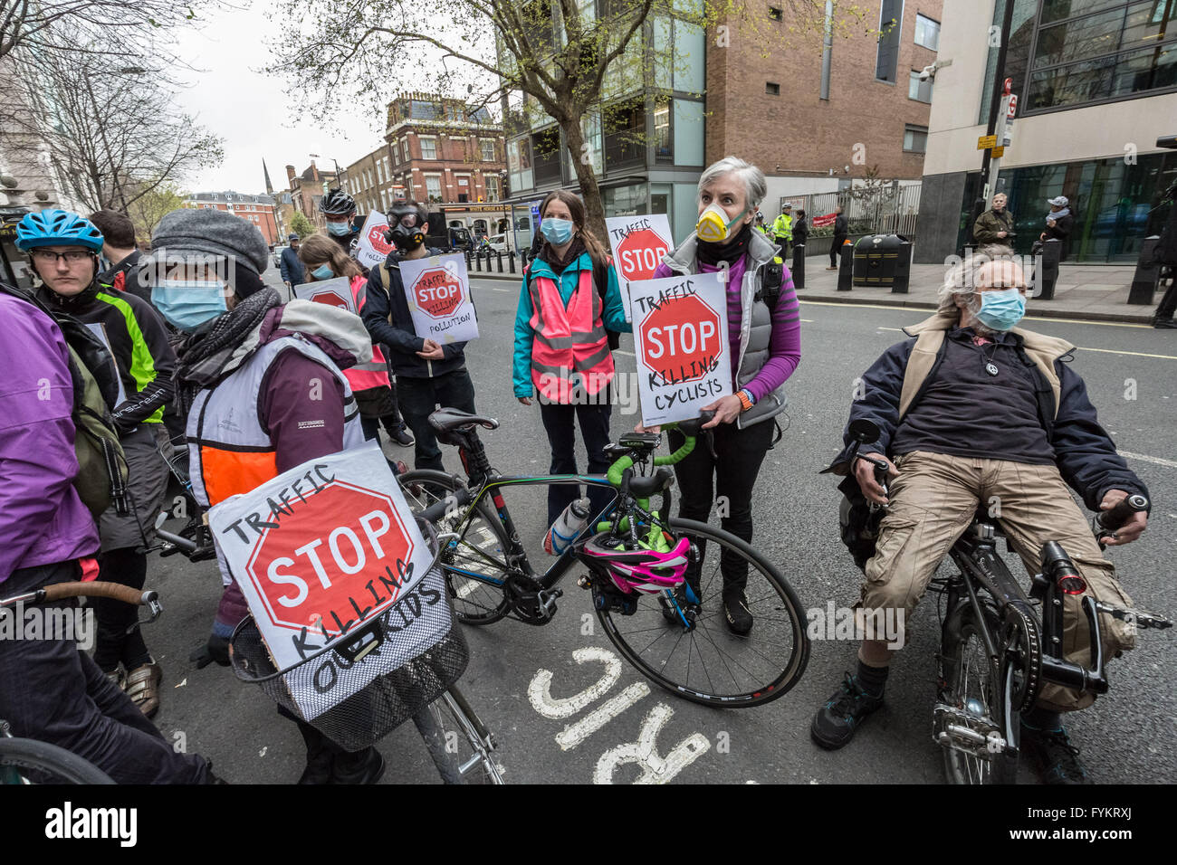 London, UK. 27th April, 2016. Transport Pollution Die-In protest outside Department for Transport Credit:  Guy Corbishley/Alamy - Stock Image