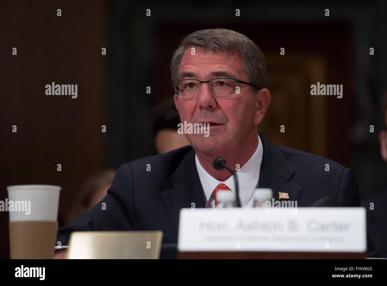 Washington DC, USA. 27th Apr, 2016. U.S. Secretary of Defense Ashton Carter testifies at the Senate Appropriations - Stock Image