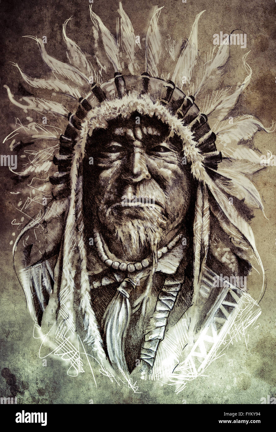 2aa7e16cbfde4 Sketch of tattoo art, native american indian head, chief, vintage style -  Stock