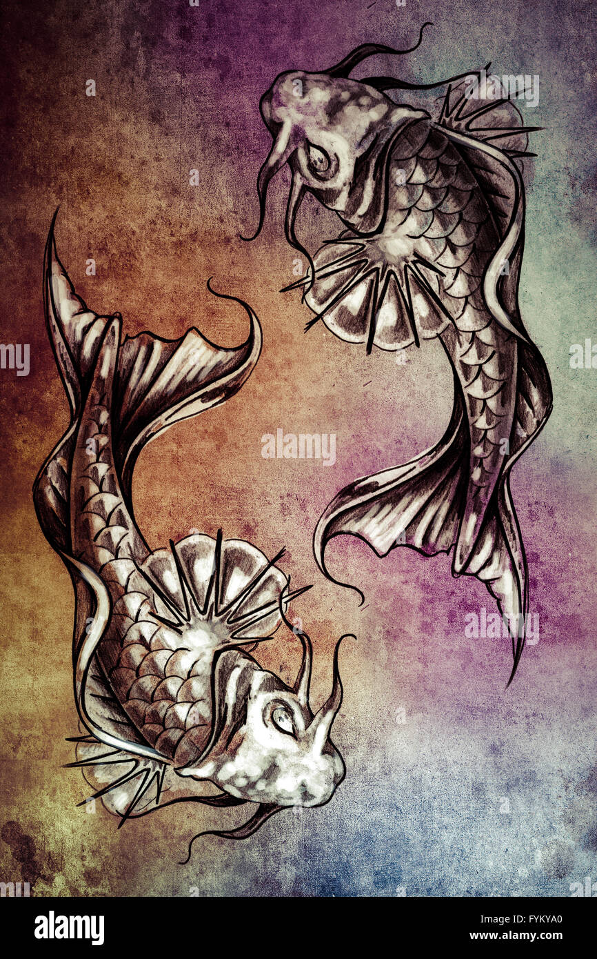 Sketch Of Tattoo Art Japanese Goldfish Over Colorful Paper Stock