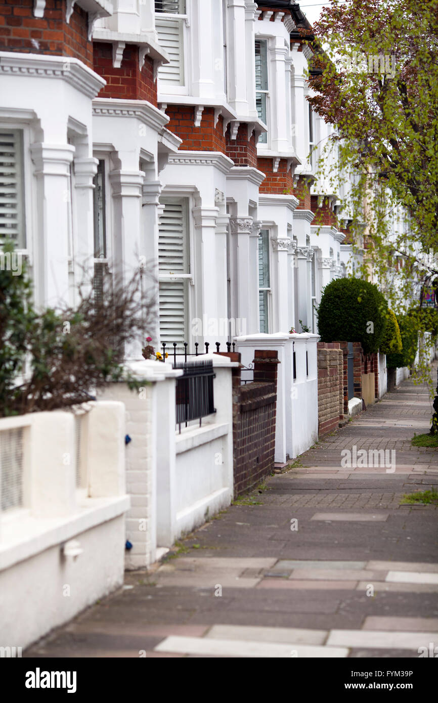 Houses on Stormont Rd Between Clapham Common and Battersea - london UK Stock Photo