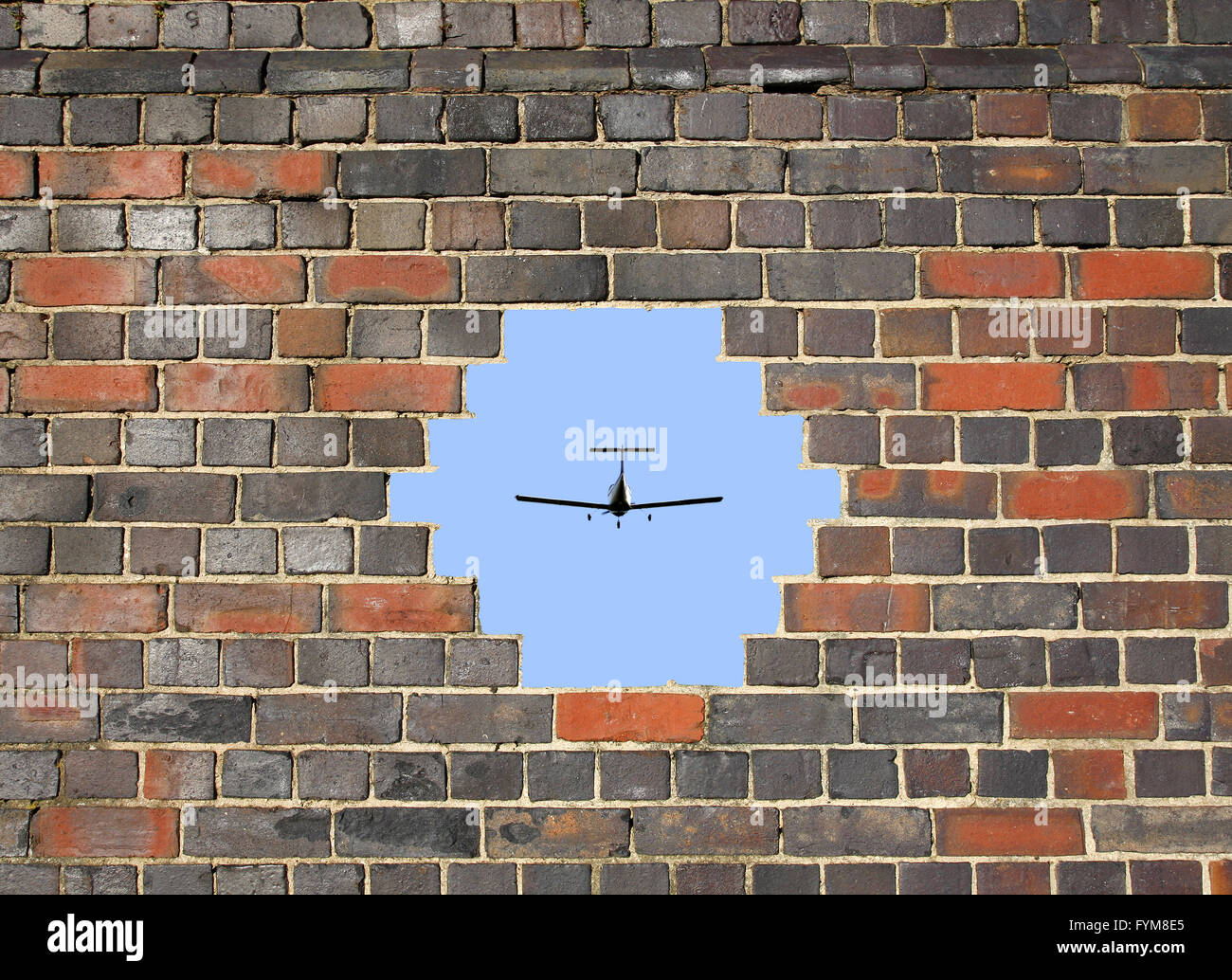 Small plane through a hole in a brick wall Stock Photo: 103093261 ...