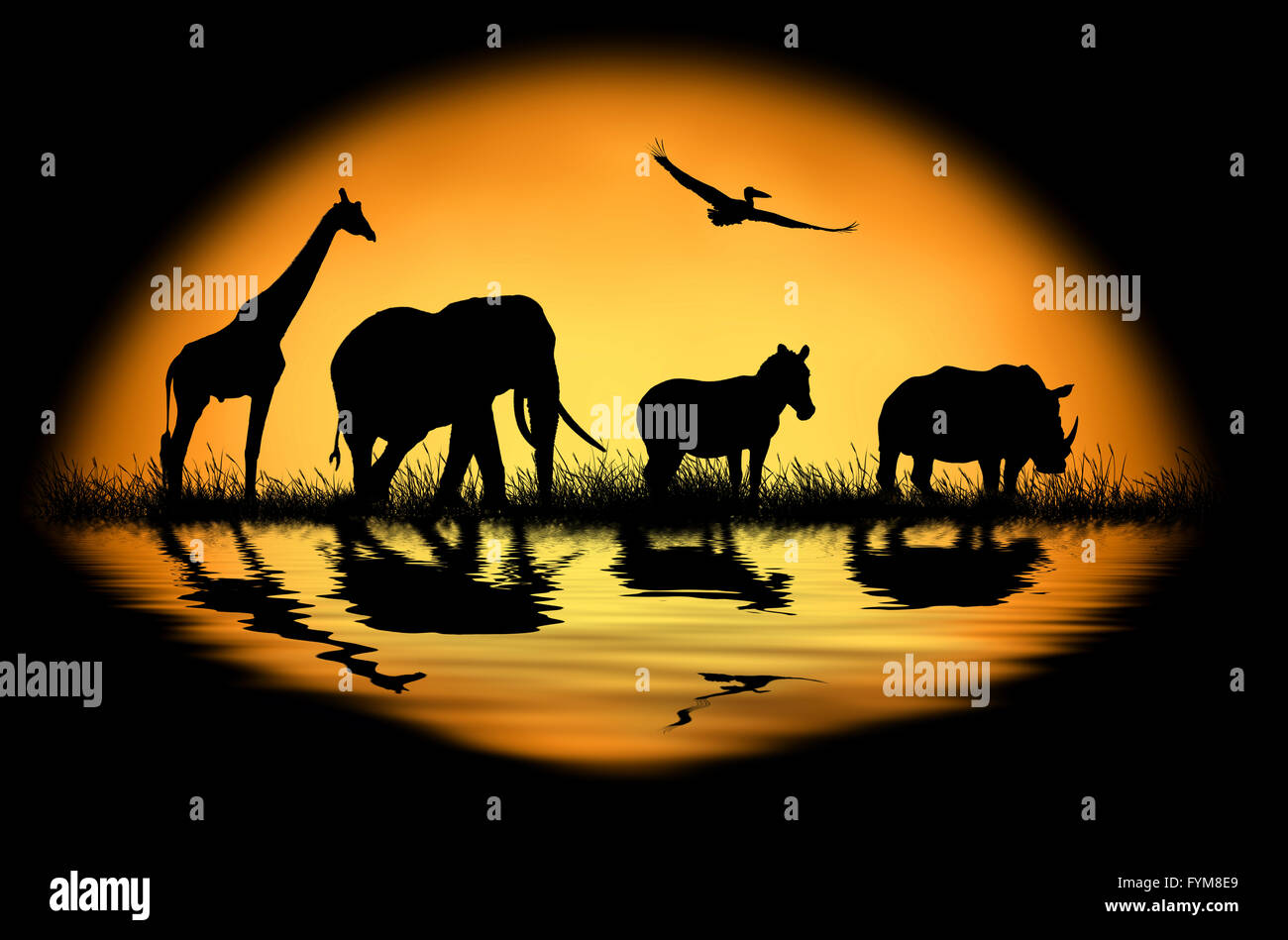 Silhouette african animals on the background of sunset. Large sun on a dark background - Stock Image