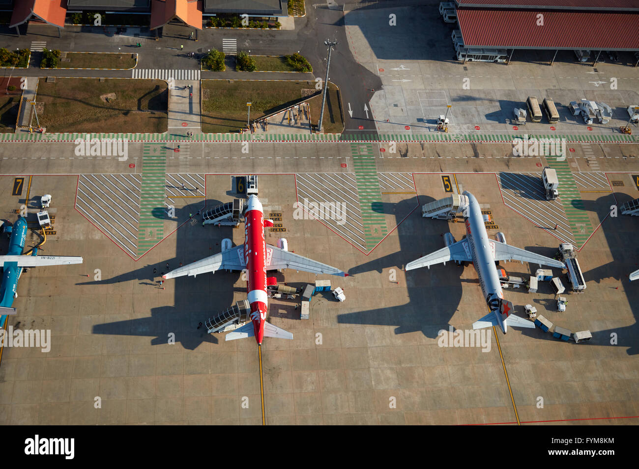Jets at Siem Reap International Airport, Siem Reap, Cambodia - aerial - Stock Image