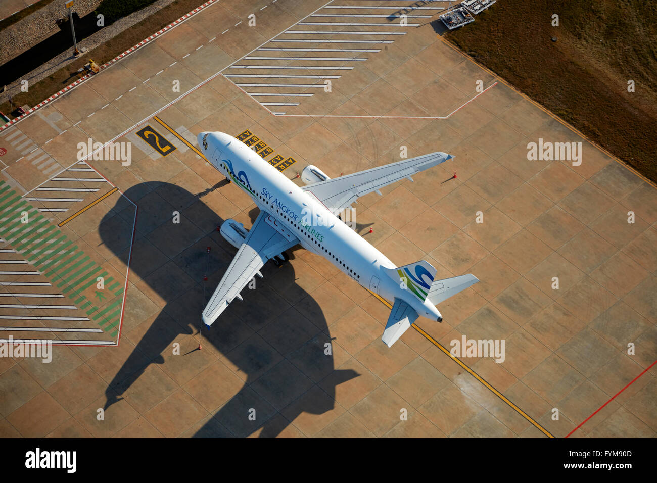 Sky Angkor Airlines Airbus A320 at Siem Reap International Airport, Siem Reap, Cambodia - aerial Stock Photo