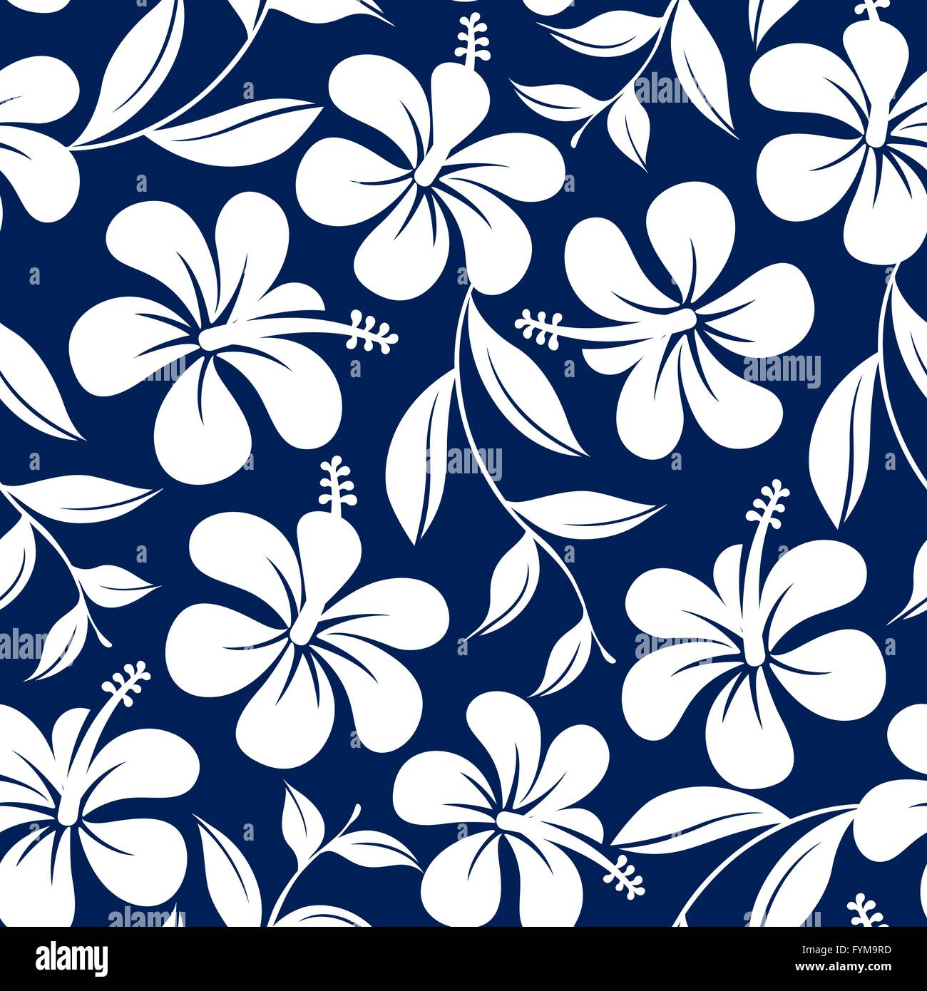 Blue And White Tropical Hibiscus Flowers And Leaves Seamless Pattern