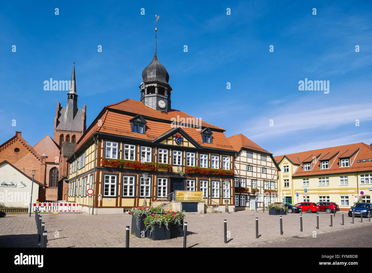 Townhall in Grabow, Germany - Stock Image