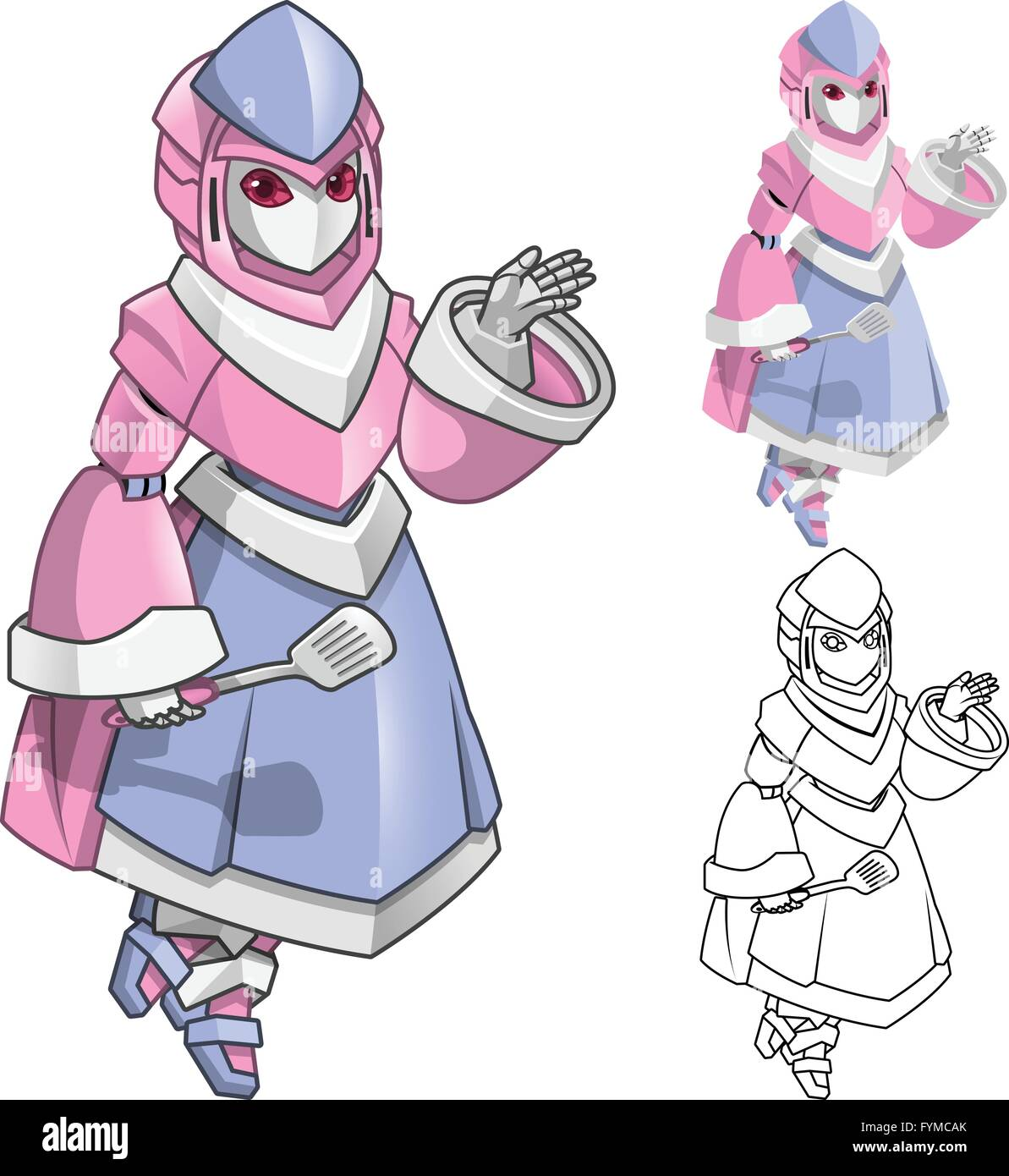 Robot chef woman with welcoming hands cartoon character include flat design and line art version vector illustration