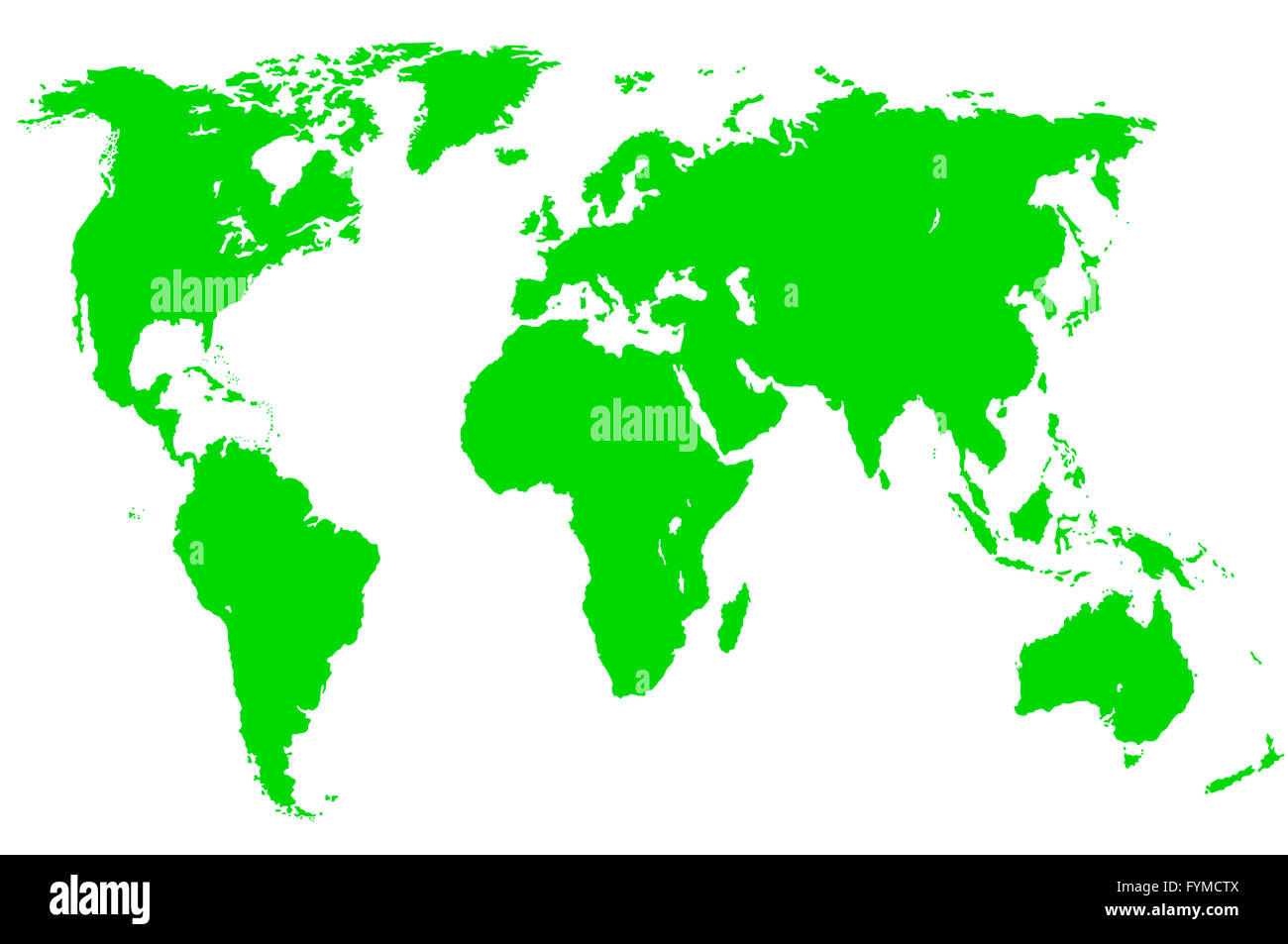 green world map, isolated - Stock Image