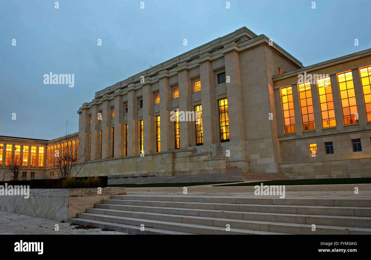 Palais des Nations, UNO, Main building, building A, Geneva, Switzerland - Stock Image