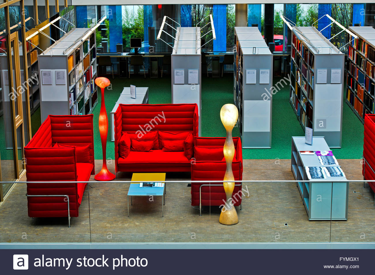 Reading corner at the Library of the World Intellectual Property Organisation, WIPO, Geneva, Switzerland - Stock Image