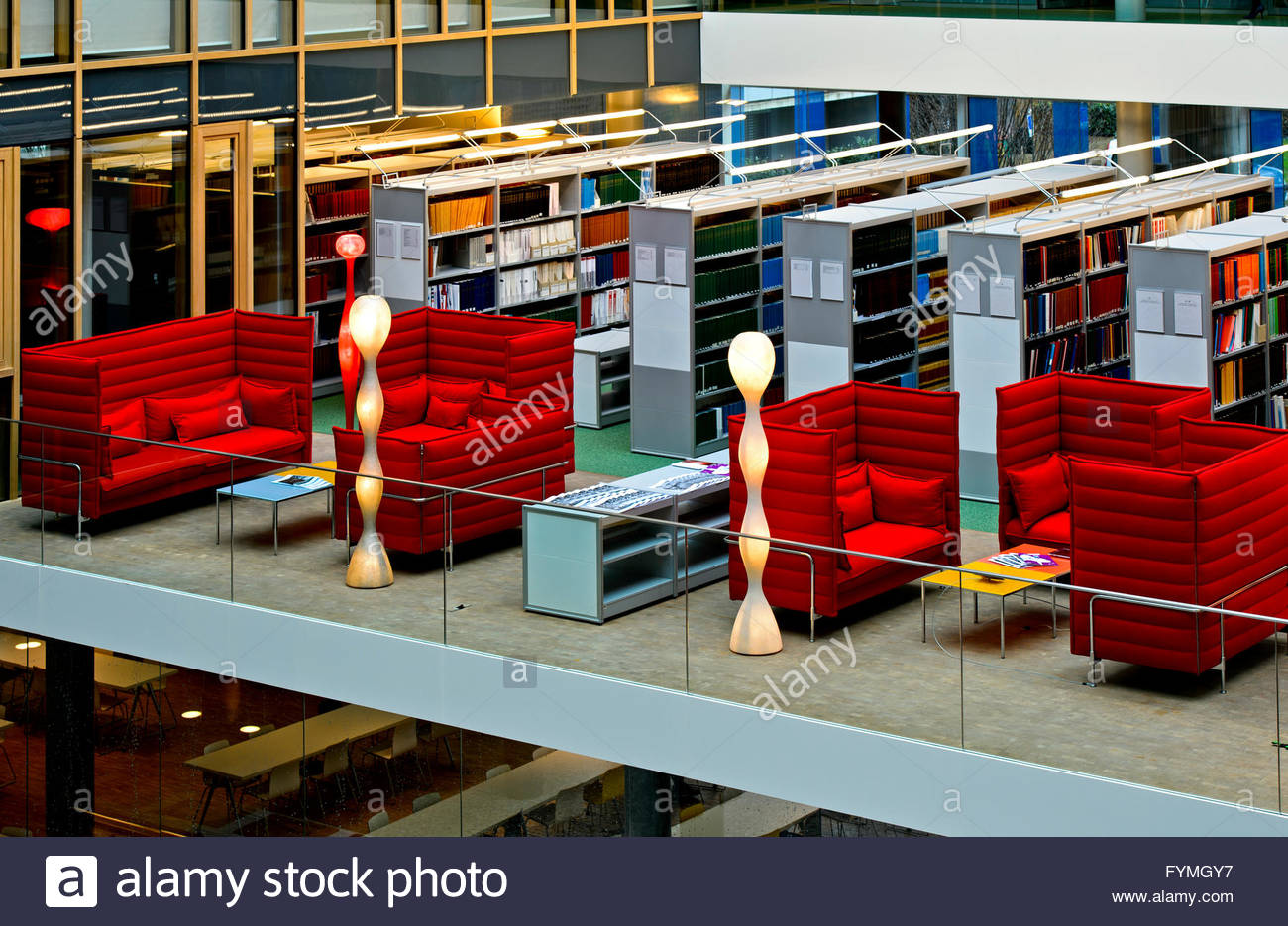 Reading room of the Library of the World Intellectual Property Organisation, WIPO, Geneva, Switzerland - Stock Image