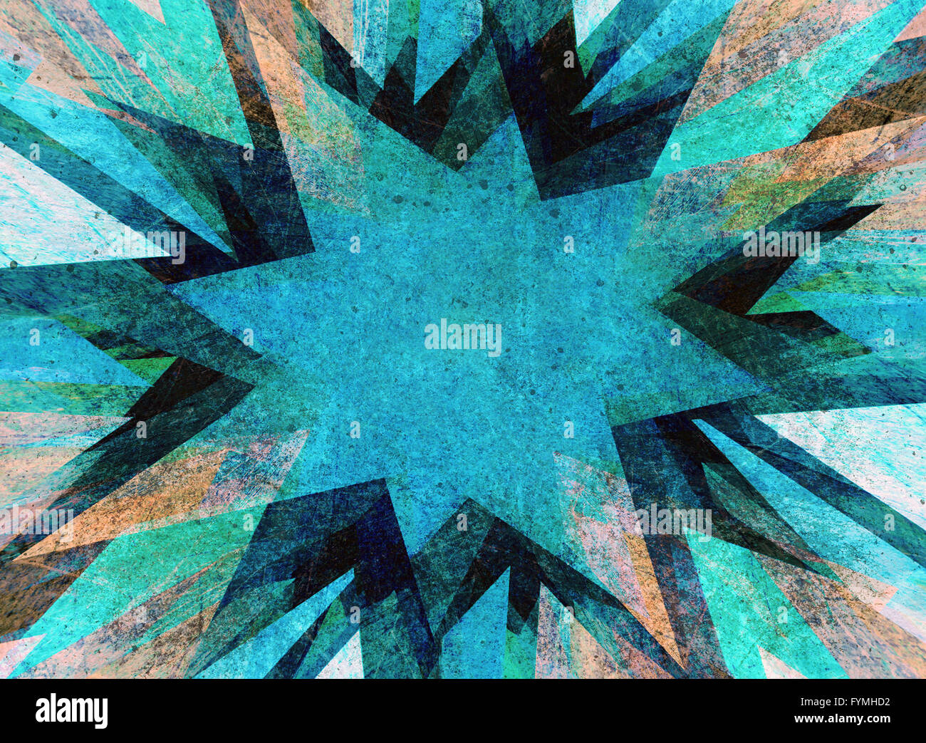 Blue grunge flash explosion - Stock Image