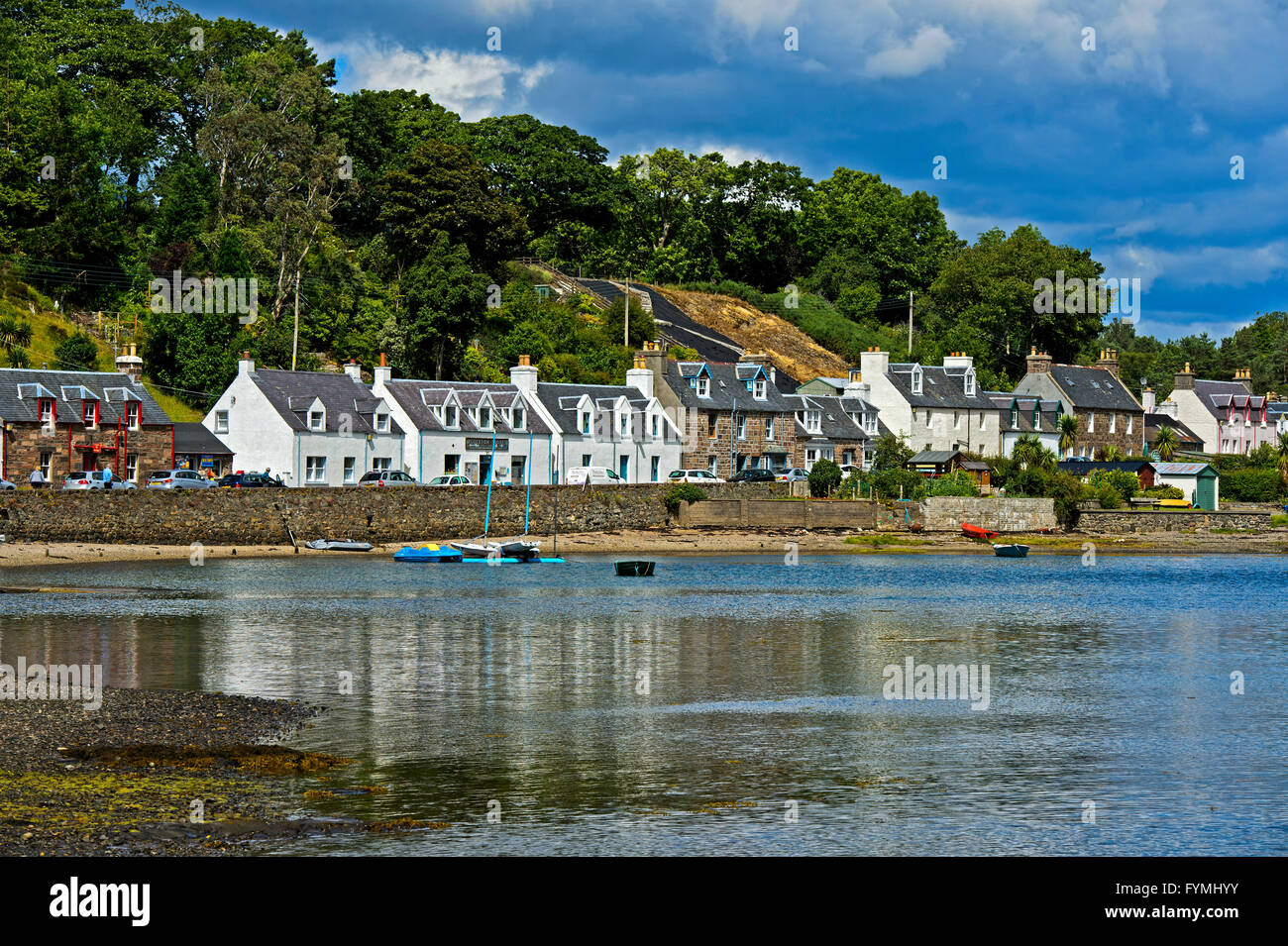 Plockton at Loch Carron, Ross and Cromarty, Scottish Highlands, Scotland, Great Britain - Stock Image