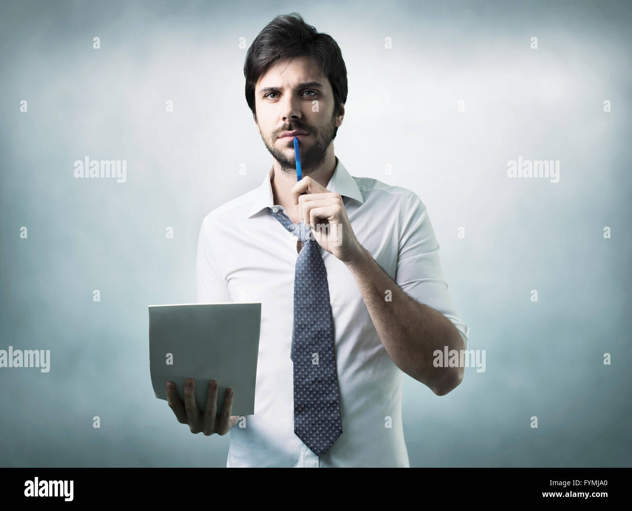 bearded man confused - Stock Image