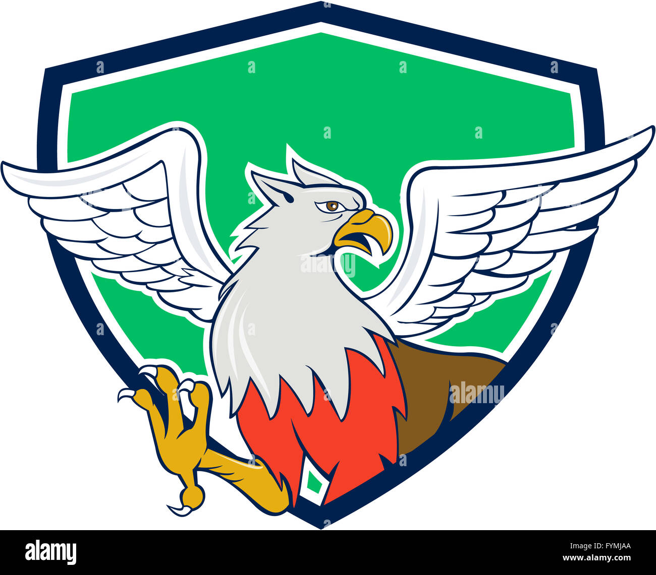 Hippogriff With Talons Shield Cartoon - Stock Image