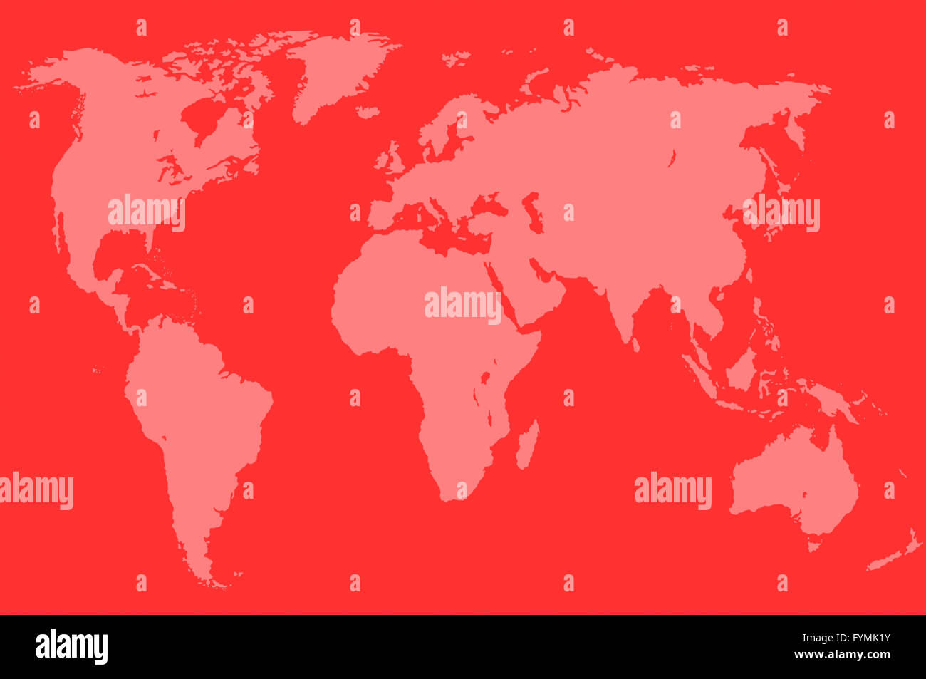 red world map, isolated - Stock Image