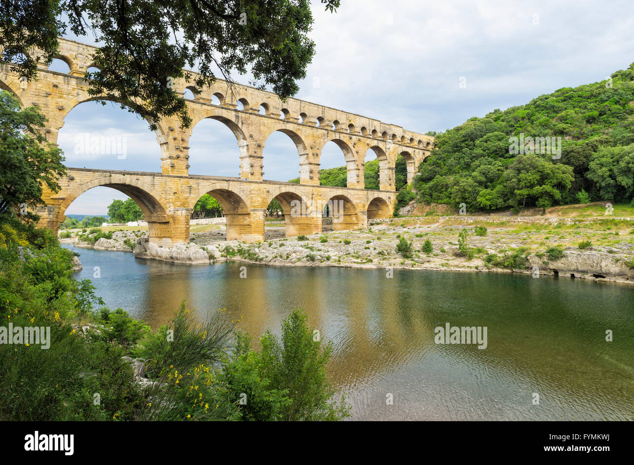 Pont du Gard, Languedoc Roussillon region, France, Unesco World Heritage Site - Stock Image