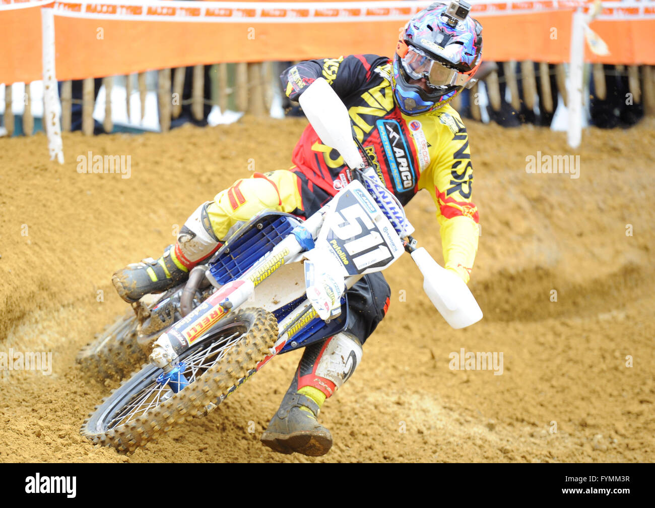 24.04.16 Maxxis British MX Championships. Round 2. Canada Heights, Kent.  Steven Clarke (511) riding the Apico Husqvarna - Stock Image