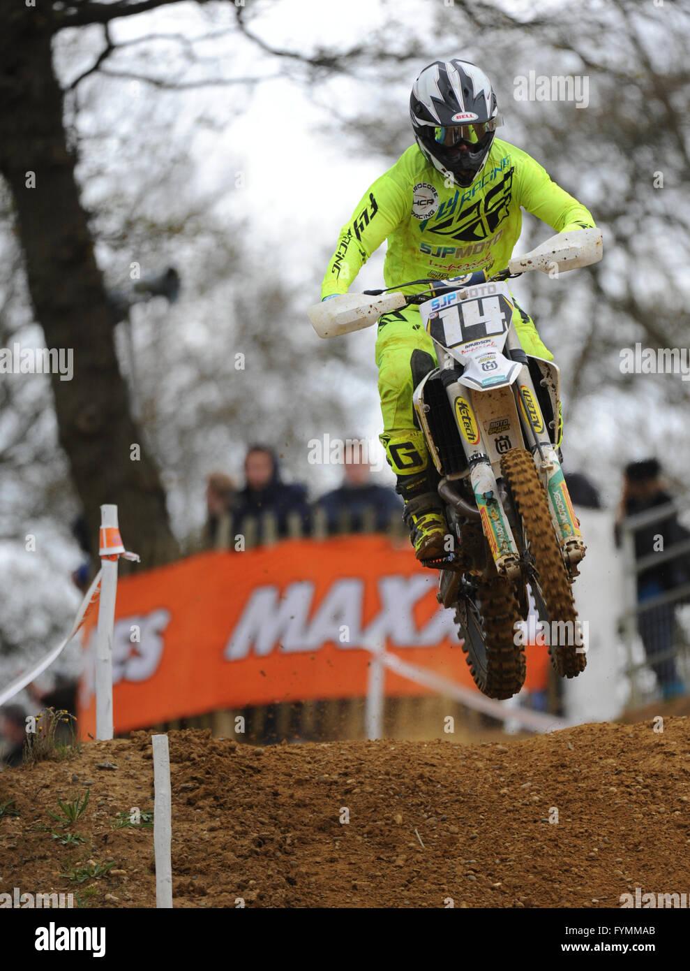 24.04.16 Maxxis British MX Championships. Round 2. Canada Heights, Kent. Robert Davidson(14) riding the SJP Moto - Stock Image