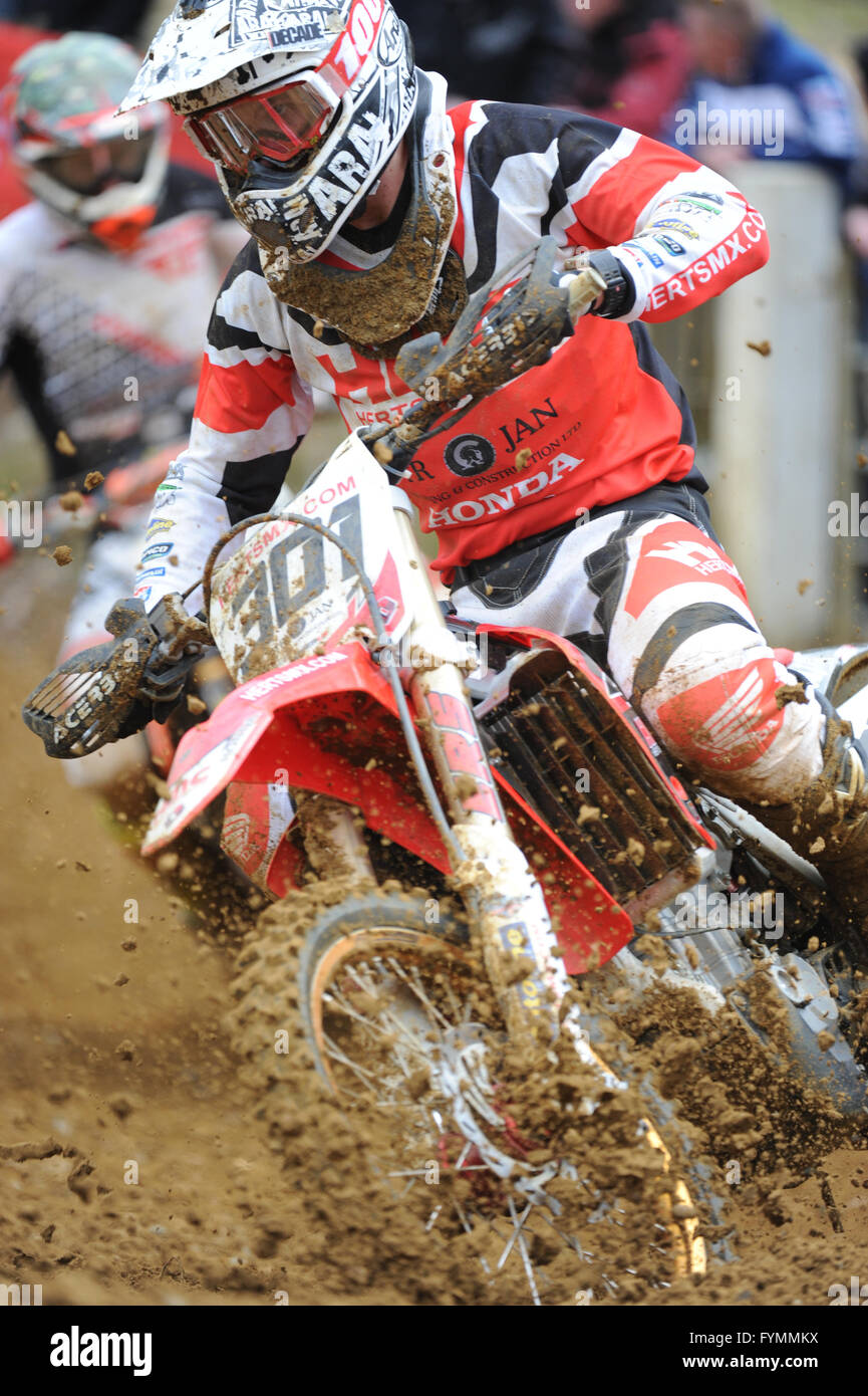 24.04.16 Maxxis British MX Championships. Round 2. Canada Heights, Kent.  Shaun Southgate (301) riding the HertsMX - Stock Image