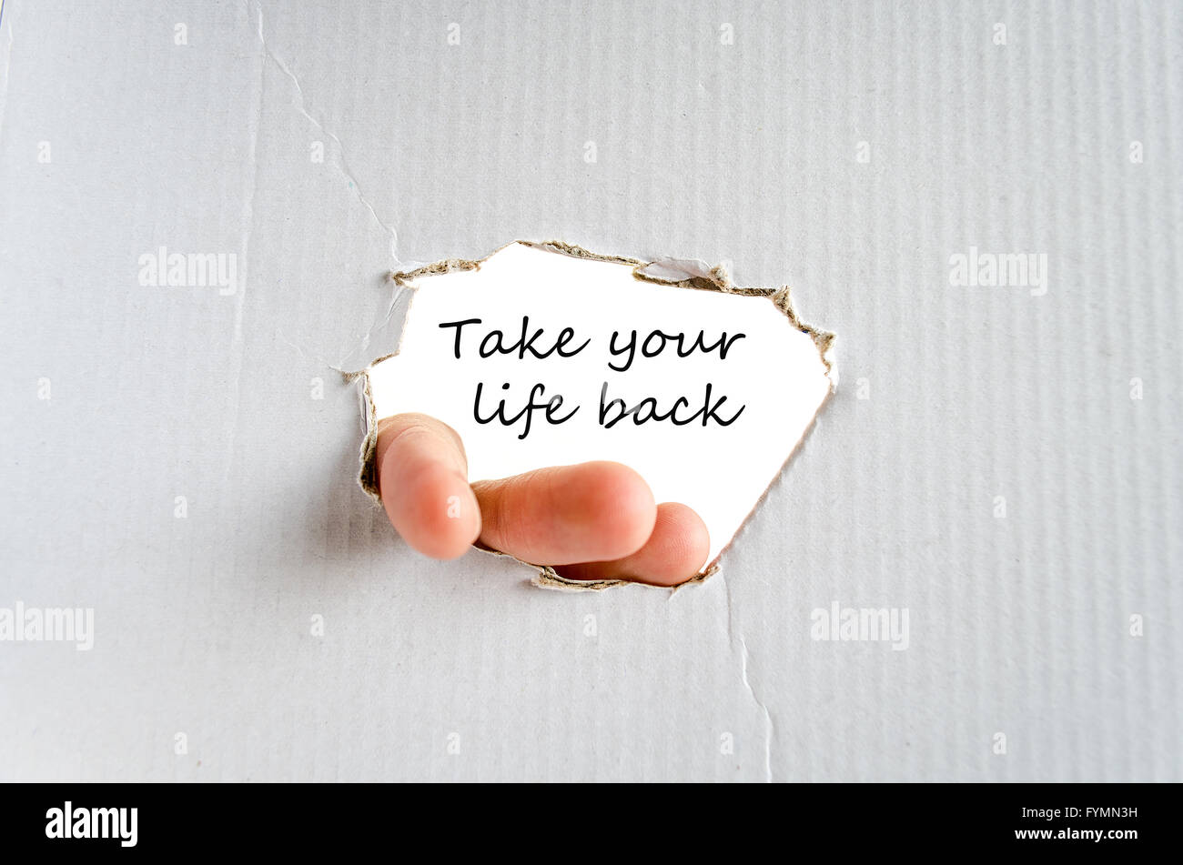 Take your life back text concept - Stock Image