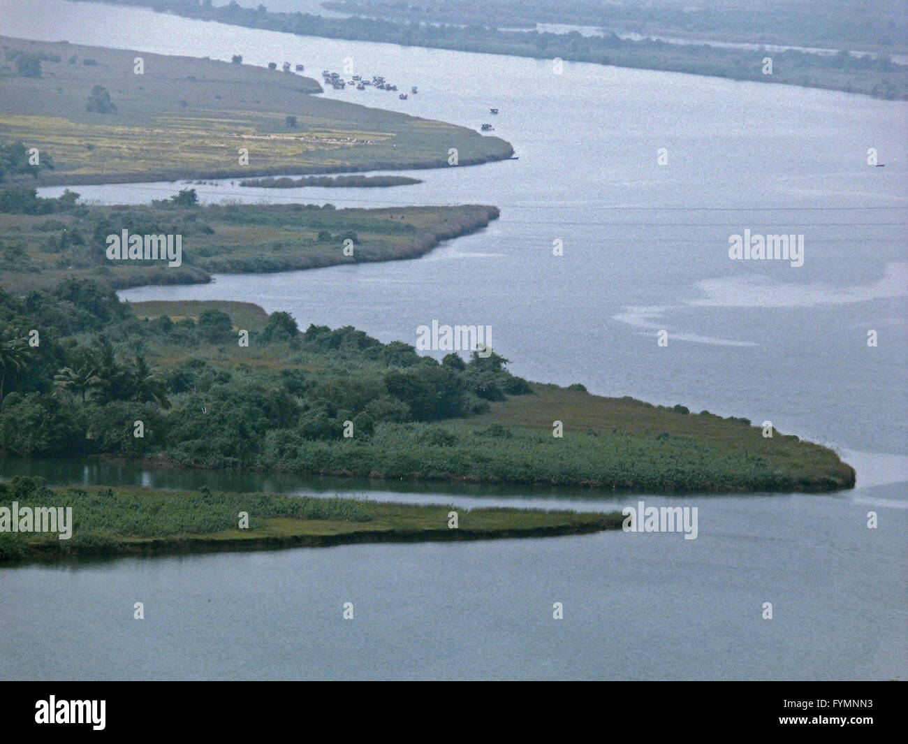 Top view of an agricultural land  a river - Stock Image