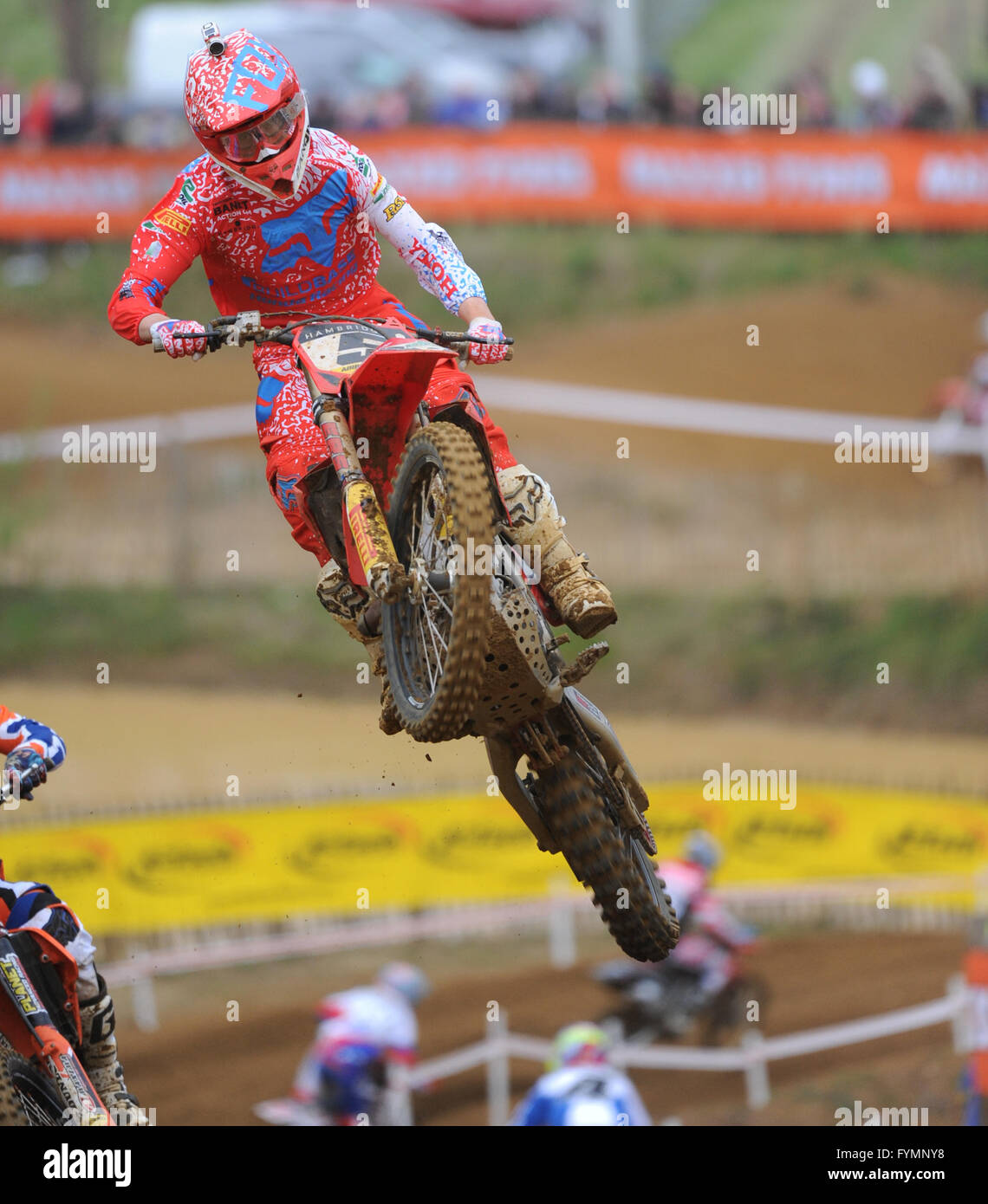24.04.16 Maxxis British MX Championships. Round 2. Canada Heights, Kent. Greame Irwin (5) riding the Buildbase Honda - Stock Image