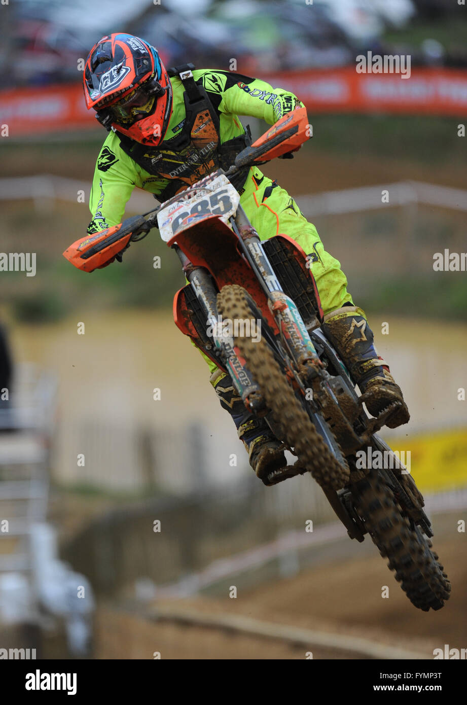 24.04.16 Maxxis British MX Championships. Round 2. Canada Heights, Kent.  Steven Lenoir (685) riding the Dyer & - Stock Image