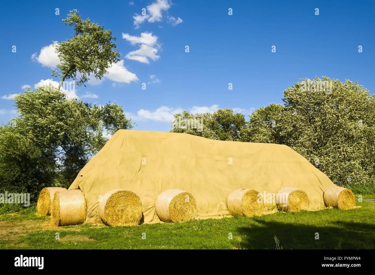 Covered stack of straw bales, Brandenburg, Germany - Stock Image